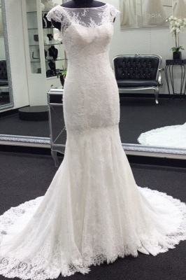 Gorgeous  Sweep Train Cap Sleeves Bateau Lace Mermaid Wedding Dresses_1