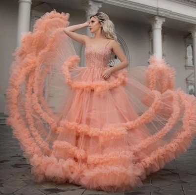 Sleeveless Tulle Ruffles Spaghetti Straps Sexy Coral Prom Dresses | Gorgeous Long Evening Dresses_4
