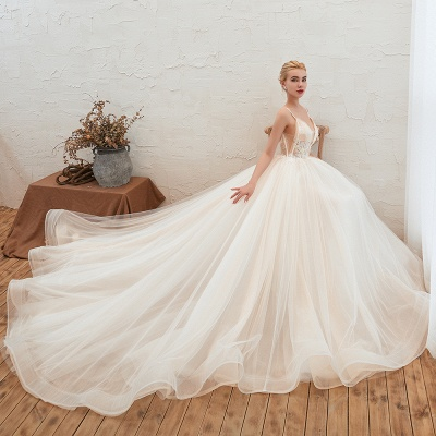 Gorgeous Spaghetti Straps V-neck Floor Length A-line Lace Tulle Wedding Dresses_4