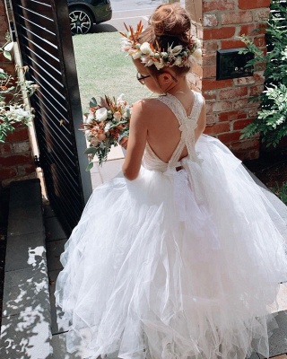 Criss-cross Straps Tiered Tulle Lace Flower Girl Dresses | Kids Dresses for Wedding_3