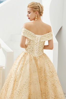 Off the Shoulder A-line Long Lace Beaded Prom Dresses |  Floor Length Evening Dresses_5