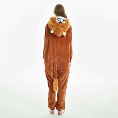 Super Soft Adult Lion Brown Onesies Pajamas for Girls_6