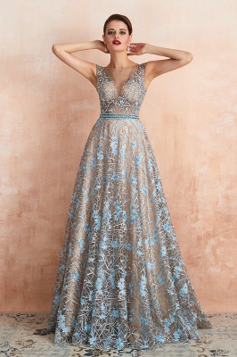 Bateau Cap Sleeves Belted Sexy Long Lace Prom Dresses | Gorgeous Lace Evening Dresses_10