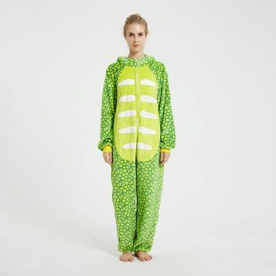Cute Animal Pyjamas for Women Triceratops Onesie, Green_1