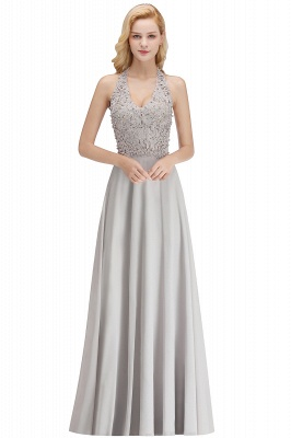 Cheap A-line Halter Chiffon Lace Bridesmaid Dress with Beadings in Stock_5