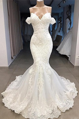 Off the Shoulder Mermaid Lace Wedding Dresses | Sexy Fit-and-Flare Bridal Gowns_1