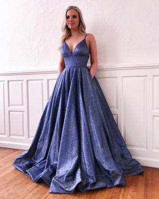 Spaghetti Straps V-neck A-line Metallic Long Prom Dresses | Trendy Evening Dresses_4