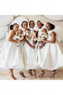 Tea Length A-line Sleeveless Elegant Bridesmaid Dresses | Affordable Maid of Honor Dresses_7