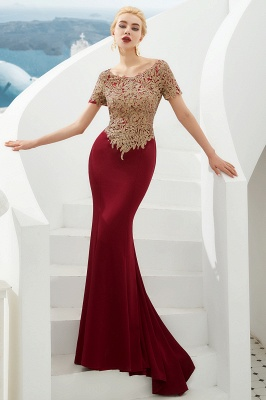 Bateau Short Sleeves Applique Fitted Long Prom Dresses | Burgundy Evening Dresses_6
