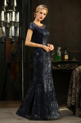 Bateau Short Sleeves Long Sequins Prom Dresses   Floor Length Fitted Evening Dresses_9