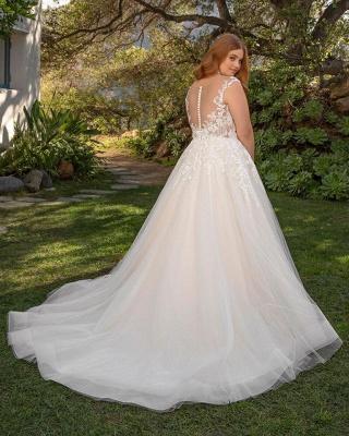 Straps Floor Length A-line Lace Tulle Wedding Dresses | Plus Size Bridal Gown_2