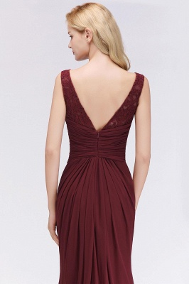Mermaid Burgundy Chiffon Ruffles Evening Dress On Sale_5