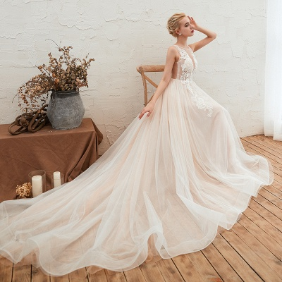 Round Neckline Sleeveless A-line Lace Up Sweep Train Lace Appliques Wedding Dresses_10