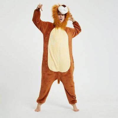 Cute Animal Pyjamas for Women Lion Onesies, Brown_15