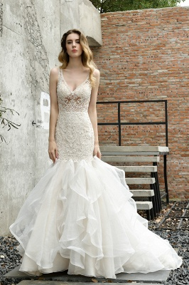 Wholesale Long Mermaid Lace Organza Wedding gowns Ruffles Train_9