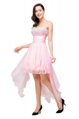 New Arrival A-Line Mini Crystal Sweetheart Ruffles  Homecoming Dress_2