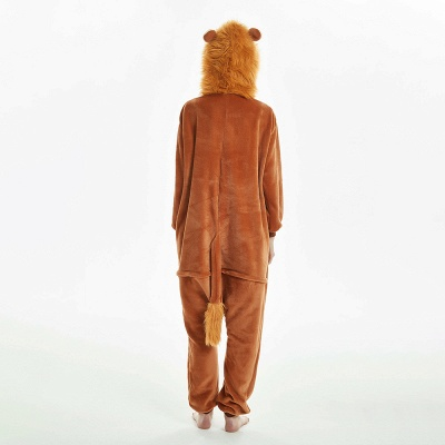 Super Soft Adult Lion Brown Onesies Pajamas for Girls_4