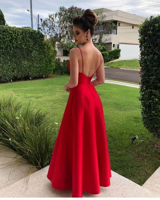 V-neck Straps Open Back  A-line Sexy Long Red Prom Dresses_2