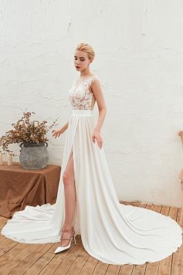 Jewel Cap Sleeves Sheer Sweep Train A-line Appliques Chiffon Wedding Dresses_7