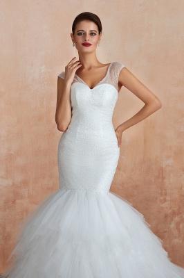 Floor Length V-neck Cap Sleeves Sexy Mermaid Wedding Dresses | Affordable Bridal Gown_12