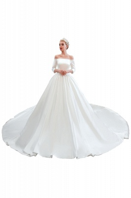 Gorgeous Off the Shoulder Half Sleeves Floor Length A-line Satin Wedding Dresses_12