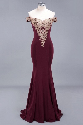 Simple Off the Shoulder Appliques Fitted Floor Length Evening Gown_14