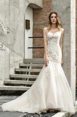 Gorgeous Floor Length  Lace Tulle Wedding Dresses Mermaid_10