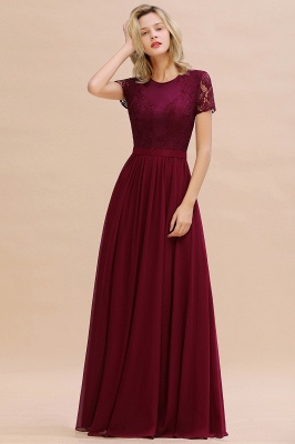 Cheap Chic A-line Chiffon Lace Bridesmaid Dress with Short Sleeves in Stock_3
