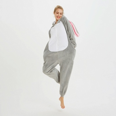 Adorable Adult Pyjamas for Women Long Ears MashiMaro Onesie, Grey_13