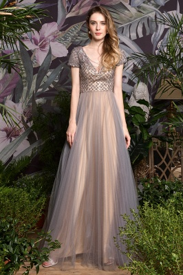 Elegant Short Sleeve Beading Floor Length a line prom dresses  Scaoop cheap graduation dress_5