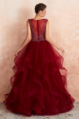 Sleeveless V-neck Sexy Long Tiered Beaded Prom Dresses | Elegant Organza Long Evening Dresses_5