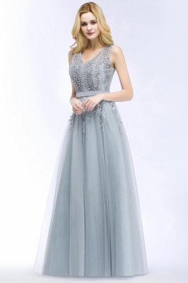 Stylish V-neck Tulle Lace Long Evening Dress_3