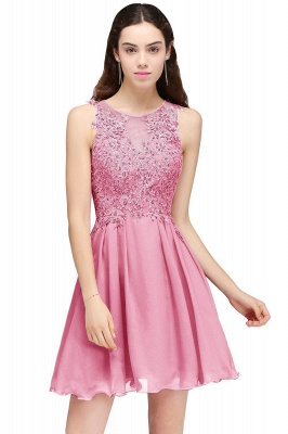 Cheap Burgundy A-line Homecoming Dress with Lace Appliques in Stock_2