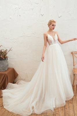 Elegant Spaghetti Straps Lace Up A-line Floor Length Lace Tulle Wedding Dresses_12