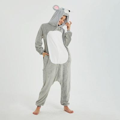Cute Animal Pyjamas for Women Mouse Onesies, Grey_16