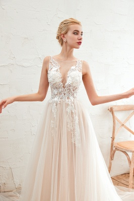 Round Neckline Sleeveless A-line Lace Up Sweep Train Lace Appliques Wedding Dresses_15