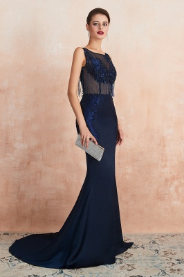 Bateau Backless Beaded Sexy Long Mermaid Prom Dresses | Glamorous Floor Length Evening Dresses_5