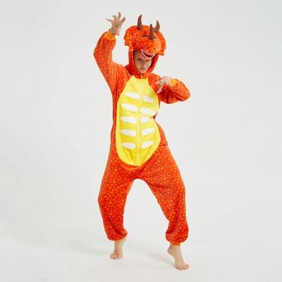 Adorable Adult Pyjamas for Women Triceratops Onesie, Orange_14