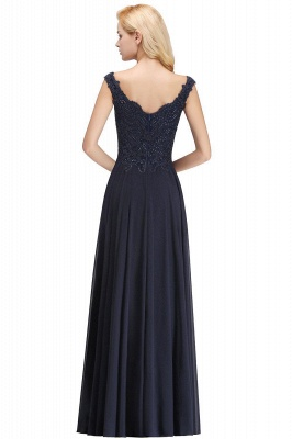 Straps V Neck Backless Applique Pears Chiffon  Floor Length A Line Prom Dresses_2