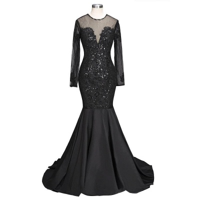 Long-Sleeves Backless Black Mermaid Appliques Sexy Prom Dress_7