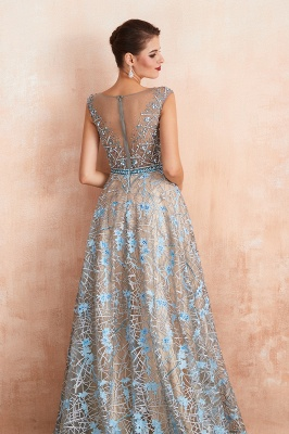 Bateau Cap Sleeves Belted Sexy Long Lace Prom Dresses | Gorgeous Lace Evening Dresses_9