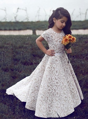 Gorgeous Jewel Short Sleeves Ribbon Belt A-line Lace Flower Girl Dresses_2