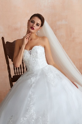 Floor Length Strapless Sweetheart A-line Gorgeous Lace Wedding Dresses_7