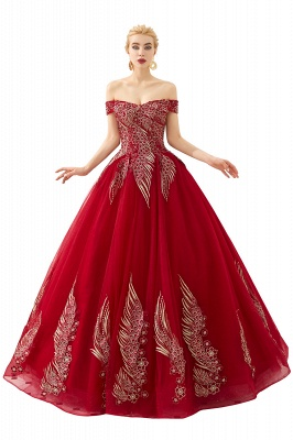 Glamorous Off the Shoulder Sweetheart Applique A-line Floor Length Prom Dresses_1