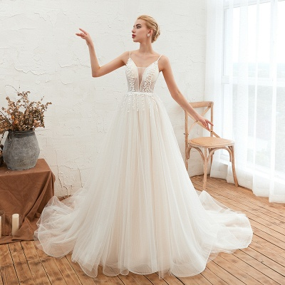 Elegant Spaghetti Straps Lace Up A-line Floor Length Lace Tulle Wedding Dresses_4