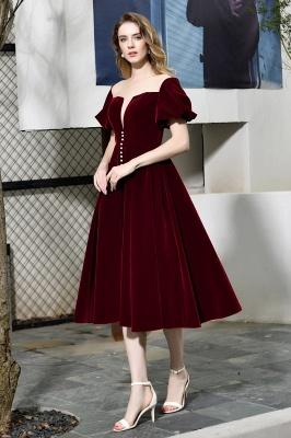 Burgundy Flare Sleeve Deep V Neck Tea Length A Line Prom Dresses | Ruffles Evening Dresses_5