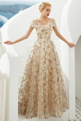 Glamorous Cold-Sleeves A-line Long Lace Prom Dresses    Floor Length Evening Dresses_5