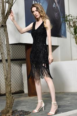 Black Straps V Neck Applique Lace Sequined Sheath Homecoming Dresses_5