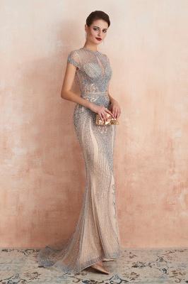 Cap Sleeves Keyhole Jewel Gorgeous Beaded Long Prom Dresses | Elegant Long Evening Dresses_9