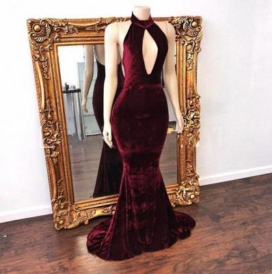 Long Zipper Mermaid Backless Stunning High-Neck Evening Dress_1